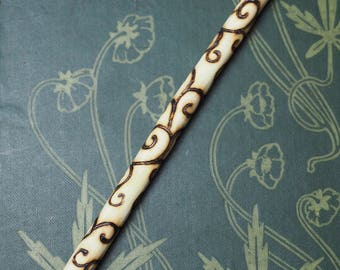 Wych Elm Wood Spiral Wand Pendant -  for The Goddess - Pagan, Wicca, Witchcraft - Travel Wand