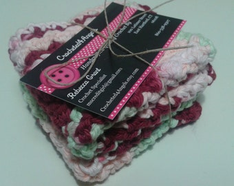 Reusable Crocheted Cotton Dishcloths, Washcloths, Set of 2- Multi Color