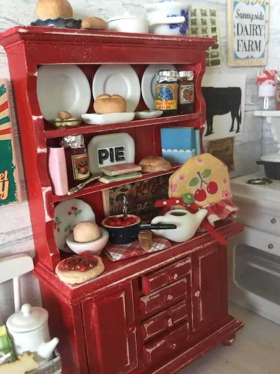 Farmhouse Miniature Distressed Red Kitchen Baking Hutch