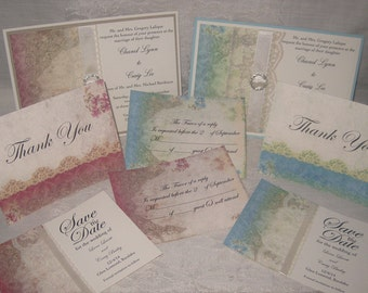 Lace Wedding Invitations, Collection Set French Market Elegant Package Shabby Chic, Haute Couture