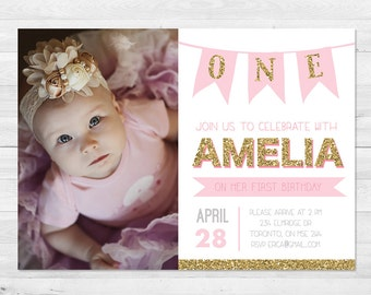 First Birthday Invitation Girl, Pink And Gold Birthday Invitation,  Photo Birthday Invitation, Sparkle, First Birthday, Any Age, Printable