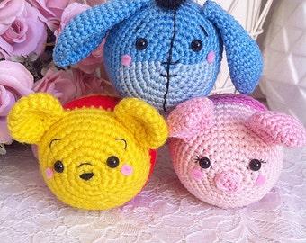 Tsum tsum Winnie the Pooh Piglet and Eeyore Disney crochet amigurumi