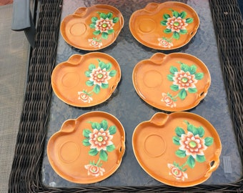 Vintage orange snack plates from Japan