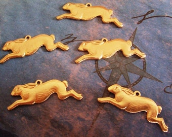 2 PC  March Hare - Raw Brass Running Hare/Rabbit Jewelry Finding or Charm - J0205
