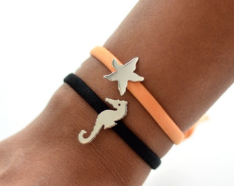 Silver Charm Elastic Bracelet / Choose your Charm /Seahorse / Starfish