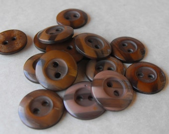 25 Brown Striped Round Buttons Size 9/16""