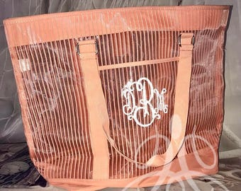 Clear and Peach Beach Tote | Pool Bag | Large Beach Bag | Monogramed | Personalized