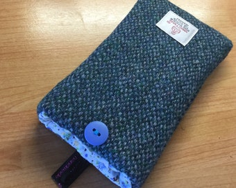 iPhone SE, 5, 5S case, blue barleycorn Harris tweed iPhone cover, made in Scotland, man gift, Father's Day