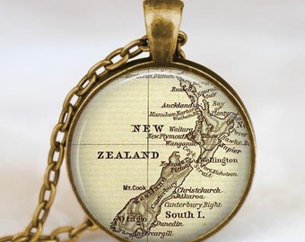 New Zealand map necklace, New Zealand map pendant, New Zealand map jewelry gift for him her  with gift bag