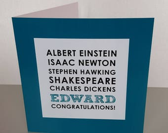 Einstein Congratulations Card A Levels. Exams. GCSE's Personalised