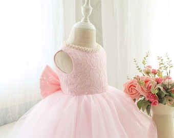 Fancy Baby Pink Sleeveless Pageant Dress, Infant Thanksgiving Dress, Baby Christmas Dress, Toddler Birthday Dress for Girls, PD098-2