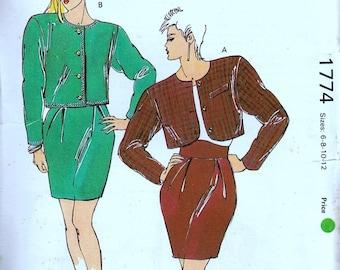 80s Suit Cropped Jacket Sewing Pattern ladies Small to Medium Kwik see 1774