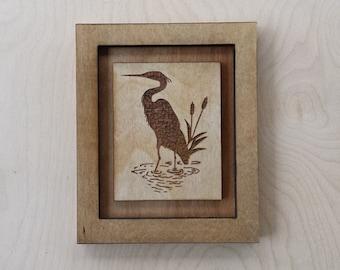 Blue Heron Laser Engraved Wood Art, Heron, Blue Heron, Lake house Art, Beach House Art, Lake House Decor, Beach House Decor,