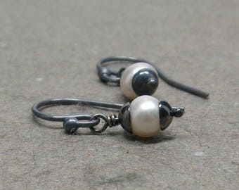 White Pearl Earrings Petite Simple Minimalist Oxidized Sterling Silver June Birthstone Earrings