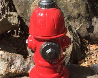 Fire hydrant, cookie jar, treat jar, dog treat jar, red, ceramic, handmade