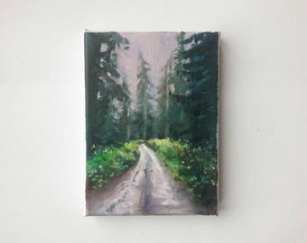 original acrylic painting, forest painting, landscape painting, small art, small painting, acrylics on canvas, mini art, explore painting