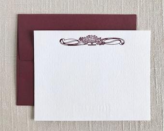 Decorative Floral Letterpress Flat Note Cards (Set of 9), Letterpress Stationery Set, Thank You Letterpress Cards, Flat Card Set
