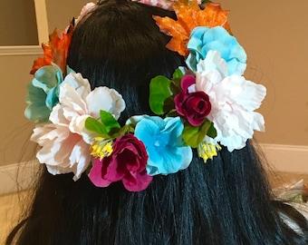 hairband mix color flowers hairpiece, wedding bridal, bridesmaid, flower girl bride wreath crown