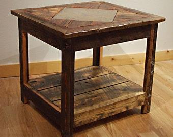 Reclaimed barn wood Rustic Barnwood Mosaic End Table