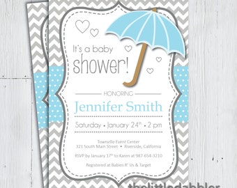 Printable Blue Umbrella Baby Shower Invitation -- Baby Sprinkle, Spring Rain, Shower Mom With Love Party, Raining Hearts -- PNG & JPG