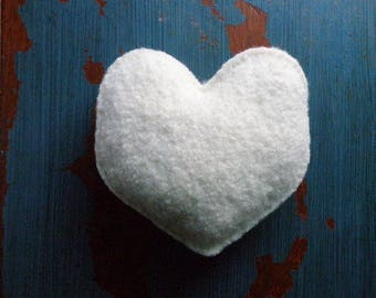 Hand Knit Plush Heart, Felted Wool Stuffed Heart: White