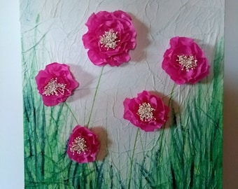 Peonies in mixed media - Acrylic, Tissue Paper and Beads - A2 size