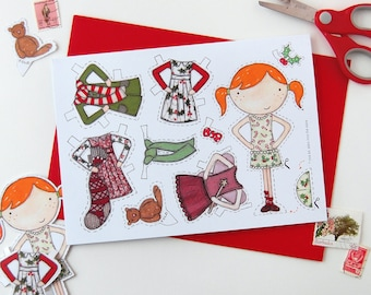 Paper Doll Christmas Card - Clara Paper Doll Card - Dress Up Paper Doll Toy - Kids Christmas Craft Activity – Festive Dress Up Doll Card