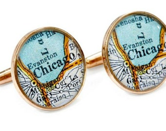 Chicago Map Cufflinks Solid Golden Bronze Heirloom Antique Atlas Windy City Groom Cubs Fan Gift