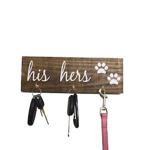 His hers dog, Key hanger, key holder, leash holder, leash hanger, Entryway decor, Entryway organizer, Entryway Key Holder, dog leash holder
