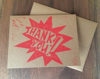 Thank You Comic lettering, greeting card, hand printed linocut block print, A2 4.25 x 5.5