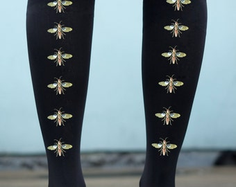 Embellished Tights - Gold or Silver Studded flying insect bug