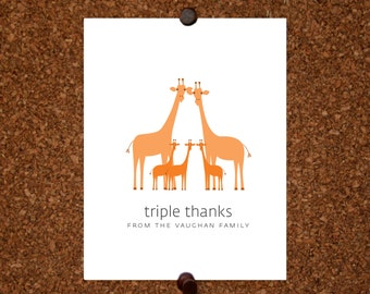 Giraffe Triplet Thank You Cards. Baby Shower Thank You Cards. Triplet Baby Thank Yous. Personalized Stationery (Set of 10)