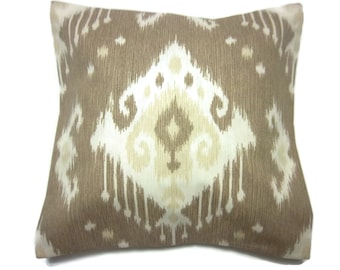 Decorative Pillow Cover Ikat Design Light Brown Tan Ivory Same Fabric Front/Back Toss Throw Accent 18x18 inch  x
