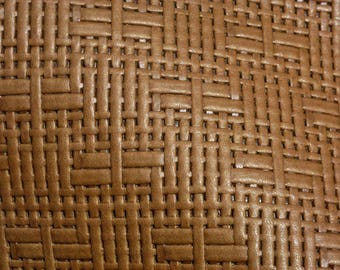 """Leather 8""""x10"""" Panama Just BROWN Basket Weave Embossed Cowhide 2-2.5 oz/0.8-1 mm PeggySueAlso™ E8000-06"""