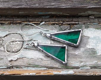 Turquoise earrings. Silver. Stained glass