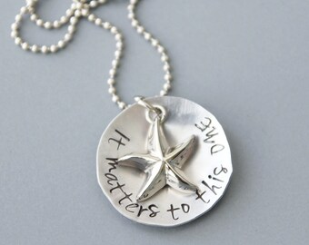Hand Stamped Necklace, Teacher Appreciation, It Matters To This One, Starfish Necklace