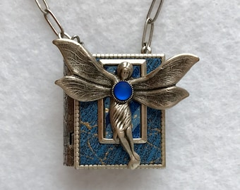 Book necklace, blue fairy pin, faerie pin, art nouveau fairy, fairy gift, literary gift, antique silver, Gift for writer, miniature book,