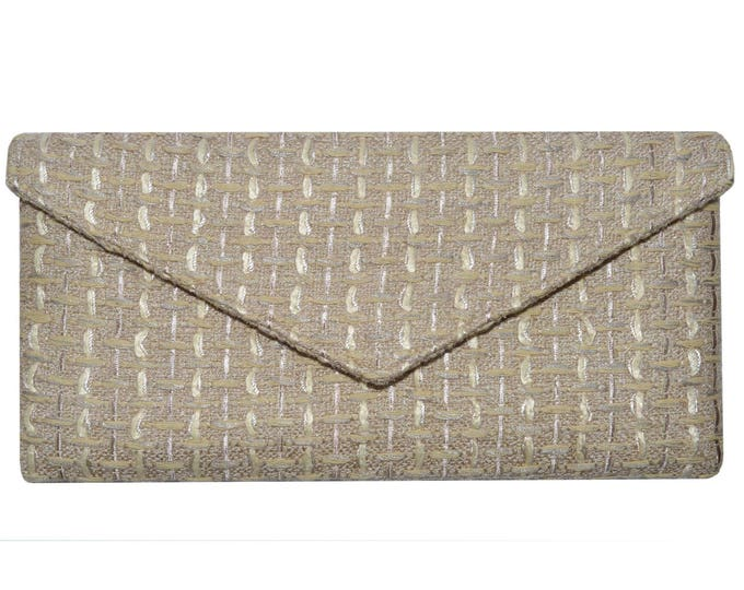 Linton Tweed Soft Beige & Gold Envelope Clutch Bag