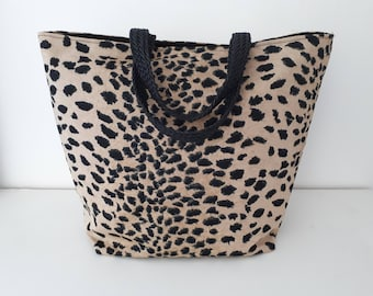 bag leopard double taffeta with a Pocket, braided handles