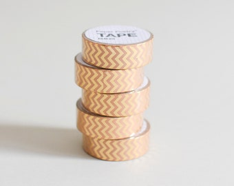 Metallic Washi tape, gold masking tape, Chevron washi tape, gold masking tape