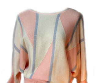 80s Knit Outfit Dolman Sleeves Pastel Pink Blouse and Skirt
