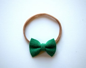 Green Suede Leather Bow Headband ONE SIZE fits All Adorable Photo Prop for Newborn Baby Little Girl Child Christmas Holiday Headwrap