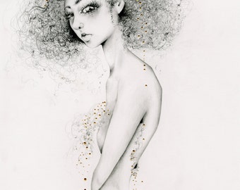 Original Art One of a Kind Drawing Illustration of a Girl Fashion Wall Art for Her Gold Unique Drawing Evocative Fine Art Multicultural Art