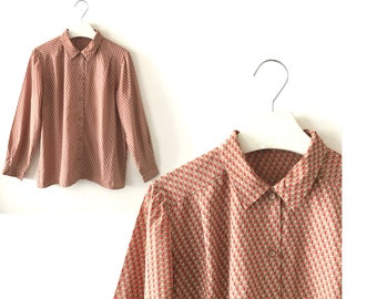 "Retro shirt L / XL ""Phyllis"" caramel brown long sleeve vintage shirt for women, pattern vintage blouse, us size 12 14, country 80s clothing"