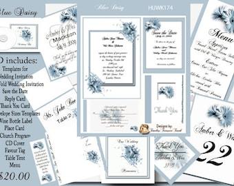 Delux Blue Daisy Wedding Invitation Kit on CD