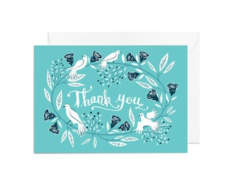 Greetings Card - Thank You Floral Wreath, Thank You Greetings Card