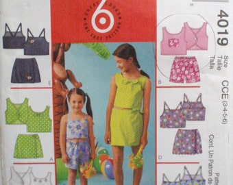 Little Girl's Summer Clothes Sewing Pattern - Sleeveless Tops, Skorts and Shorts - McCall's 4019 - Sizes 3-4-5-6, Breast 22 - 25