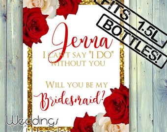 Gold Rosy Romance Bridesmaid Proposal - JUMBO Wine Bottle Label