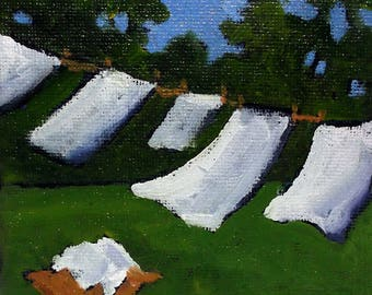 Miniature Impressionist Painting 4x4 Plein Air Landscape Backyard Laundry Clothesline Art Lynne French
