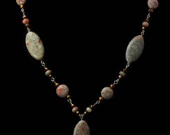 """Unakite Y-necklace (20"""") and Earrings set"""